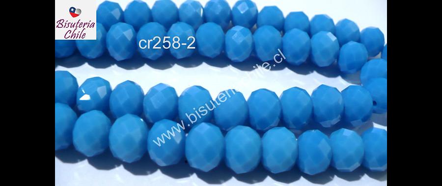 Cristal 10 x 8 mm, tonos celeste, set de 20 unidades