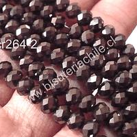 Cristal chino facetado color café oscuro brillante de 6 mm de diámetro por 5 mm de ancho tira de 99 unidades aprox.
