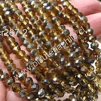 Cristal chino facetado color amarillo ocre y verdes de 6 mm de diámetro por 5 mm de ancho tira de 99 unidades aprox.