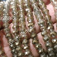 Cristal chino facetado color amarillo tornasol de 6 mm de diámetro por 5 mm de ancho tira de 99 unidades aprox.