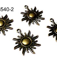 Dije envejecido en forma de sol, 24 , de diámetro, set de 4 unidades