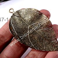 Colgante en forma de hoja dorada, 73 x 40 mm, por unidad