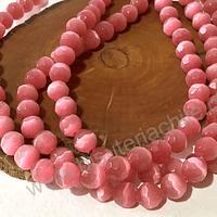 Ojo de gato facetado rosado de 8 mm, tira de 48 piedras aprox