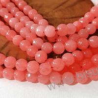 Agatas, Agata facetada de 8 mm en tono coral, tira de 46 piedras aprox.