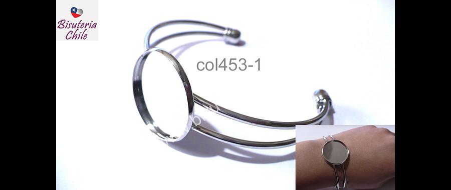 Base cambuchón pulsera, 25 mm interior, ajustable, por unidad