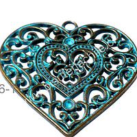 Colgante envejecido con turquesa en forma de corazón, 57 x 55 mm, por unidad
