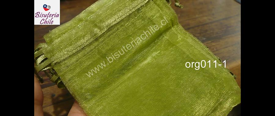 Bolsa de organza verde musgo,7x9 , set de 10 unidades