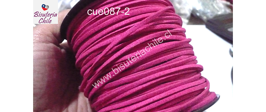 Gamuza color fucsia de 3 mm de ancho y 2 mm de espesor, por metro