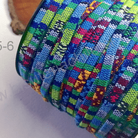 Cordón étnico plano en colores celestes, azules, verdes, 5 mm de ancho, por metro