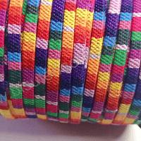 Cordón étnico plano en colores naranjo, rojo, fucsia, verde y amarillo, 5 mm de ancho, por metro