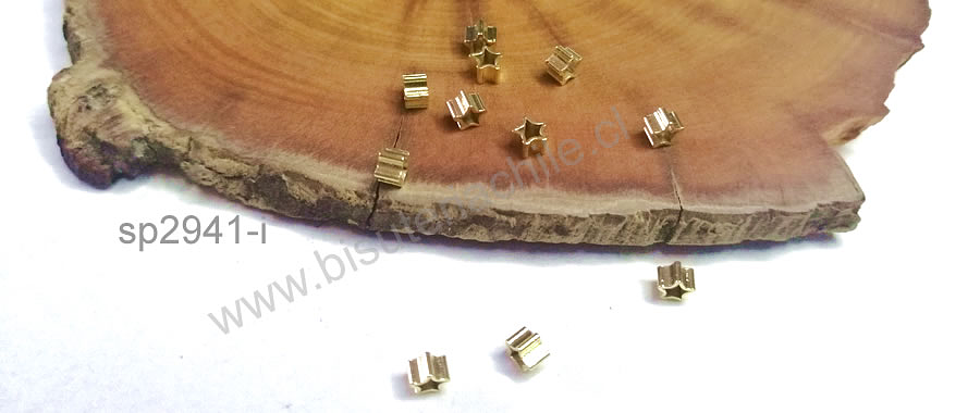 Separador baño de oro, 3 x 3 mm, set de 1 gr. (12 aprox)