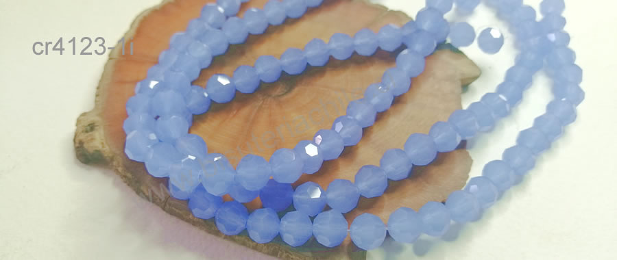 Cristal redondo de 8 mm, color celeste, tira de 38 cristales aprox
