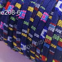 Cordón étnico plano en colores azul con rayas rosadas, verdes y blancas, 5 mm de ancho, por metro