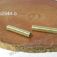 Separador baño de oro tubo, 20 mm de largo x 4 mm de ancho, agujero de 3 mm, set de 2 unidades