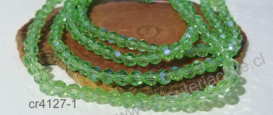 Cristal redondo de 6 mm, color verde claro, tira de 50 cristales aprox