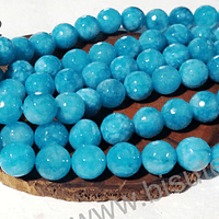 Agatas, Agata de 10 mm, facetada color calipso tira de 37 piedras aprox.