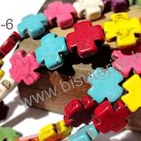 Perla de resina en forma de cruz, 15 x 15 mm, tira de 26 unidades,