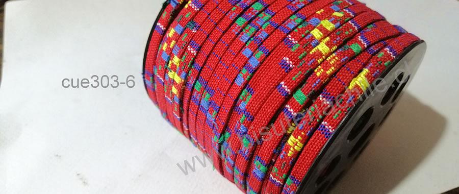 Cordón étnico plano en color rojo y líneas azules, amarillos y verdes, 5 mm de ancho, por metro
