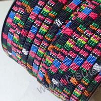 Cordón étnico plano en negro con rallas, rosados, celestes, amarillo, 5 mm de ancho, por metro