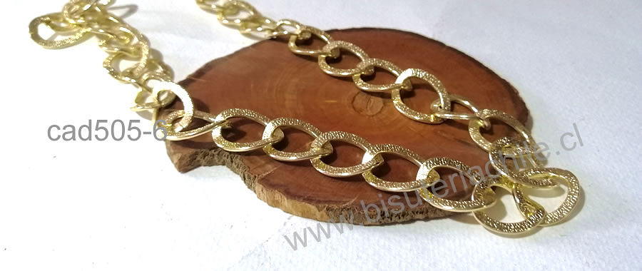 Cadenas, cadena dorado efecto escarchado, eslabón de 20 x 16 mm, por metro