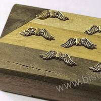 Separador dorado en forma de alas, 23 mm de ancho por 7 mm de alto, set de 6 unidades