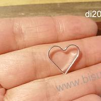 Dije baño de plata en forma de corazón, 15 x 16 mm, por unidad. San Valentin