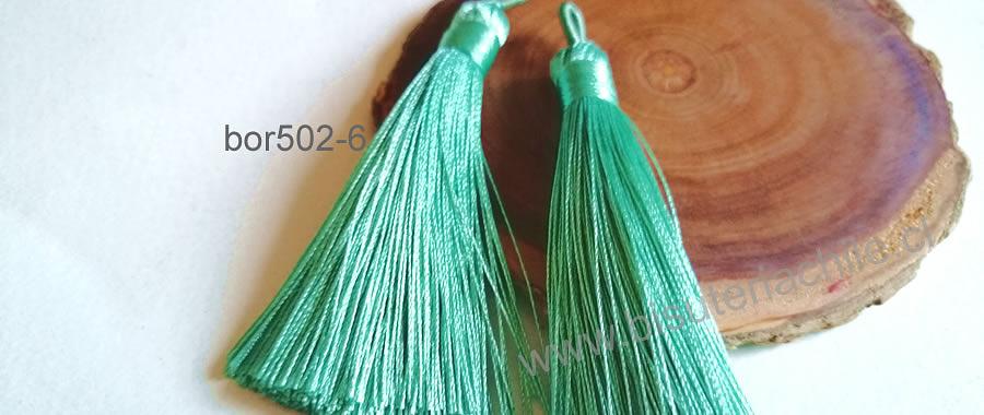 Borlas, Borla gruesa 1 era calidad, de hilo de seda color verde mermaid, 7 cm de largo, set de 2 unidades