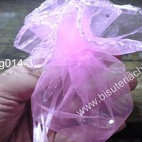 Set de bolsas de organza redonda rosada, 25 cm de diámetro, set de 10 unidades