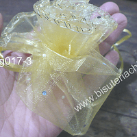 Set de bolsas de organza redonda amarilla, 25 cm de diámetro, set de 10 unidades