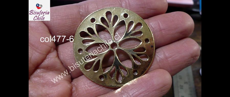 Colgante dorado con diseño, 40 mm de diámetro por unidad