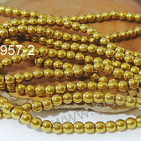 Hematite dorada redonda 4 mm, tira de 95 piedras aprox