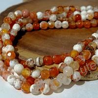 Agatas, Agata de 4 mm, en tono naranjo jaspeada 95 piedras aprox