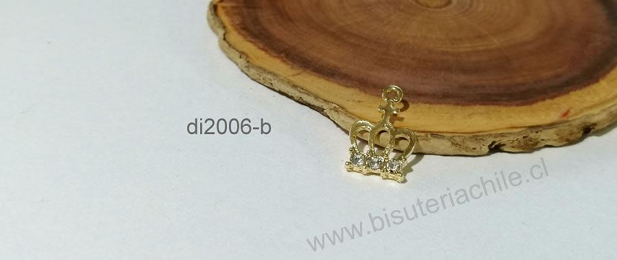 Dije corona baño de oro con circones, 18 x 10 mm, por unidad