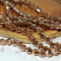 Cristal tupi 6 mm color cobre metálicol, tira de 49 cristales aprox.