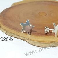 Base de aro baño de plata en forma de estrella, 13 mm, por par