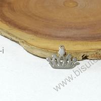 Dije acero en forma de corona, 10 x 14 mm, por unidad