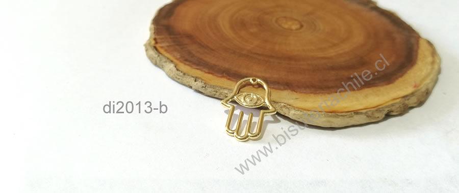 Dije baño de oro en forma de mano de hamsa, 20 x 15 mm, por unidad