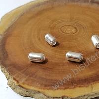 Separador baño de plata en forma de cilindro, 7 x 4 mm, agujero de 2 mm, set de 4 unidades