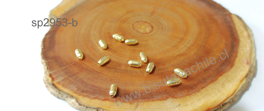 separador baño de oro, 5 x 2 mm, agujero de 1 mm, set de 1 grs. (11 aprox)