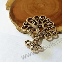 Colgante dorado árbol, 50 x 38 mm, por unidad