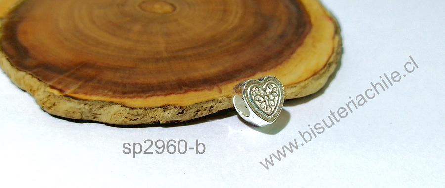 Separador baño de plata en forma de corazón con diseño, para central de pulseras, 9 x 6 mm, agujero de 4 mm, por unidad. San Valentin