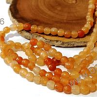 Agatas, Agata de 4 mm, en tono naranja jaspeada 95 piedras aprox