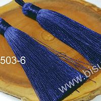 Borlas, Borla gruesa 1 era calidad, de hilo de seda color azul marino, 7 cm de largo, set de 2 unidades