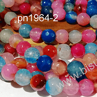 Agatas, Piedra Agata de 8 mm multicolor en tonos celestes, naranjas y azules,  tira de 46 piedras aprox