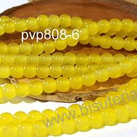 Perla de vidrio amarillo 6 mm tira de 72 piedras aprox