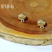Separador baño de oro con diseño, con argolla para dijes, 5 x 6 mm agujero de 2,5 mm, set de 2 unidades