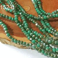 cristal facetado verde con brillos tornasol café 3 mm x 2 mm, tira de 145 cristales aprox