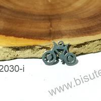 Dije de acero en forma de bicicleta, 12 x 8 mm, por unidad