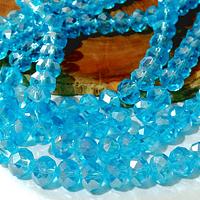 Cristal celeste tornasol de 8 mm, tira de 69 cristales aprox.