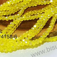 Cristal facetado tornasol amarillo 4 mm, tira de 140 cristales aprox